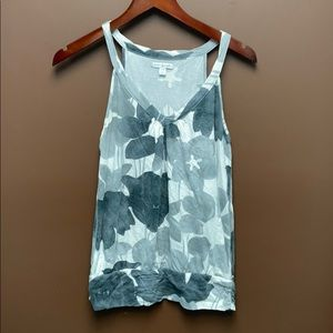 Grey florals on white tank top from American Eagle